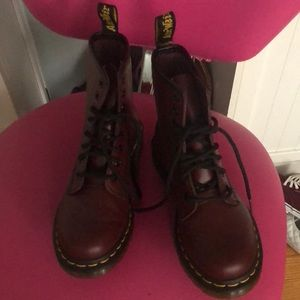 Cherry Red Smooth Leather Doc Martens